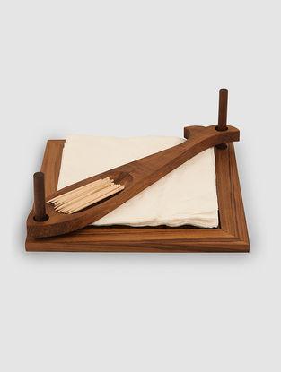 Brown-Multicolored Teak Wood Napkin Holder (7.5in x 7.5in)