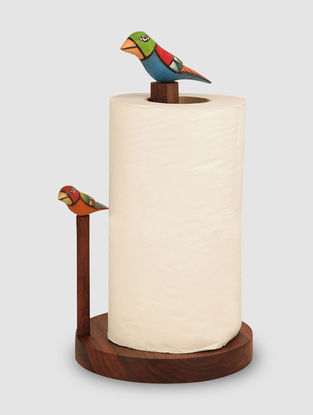 Brown-Multicolored Sheesham Wood Napkin Holder with Bird Design (L:5.6in, W:5.6in, H:11.6in)