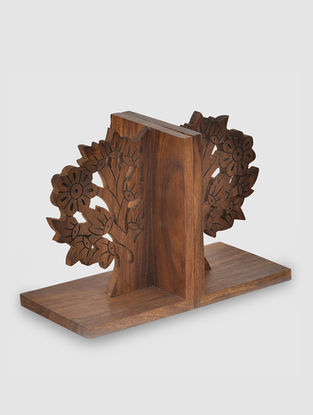 Brown Sheesham Wood Bookend (L:3.7in, W:9.5in, H:6.5in)