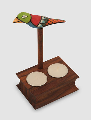 Brown Sheesham Wood T-Light Holder with Bird Design (L:4in, W:3in, H:7in)