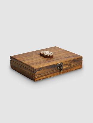 Brown Teak Wood Jewellery Box (L:7in, W:9in, H:2in)