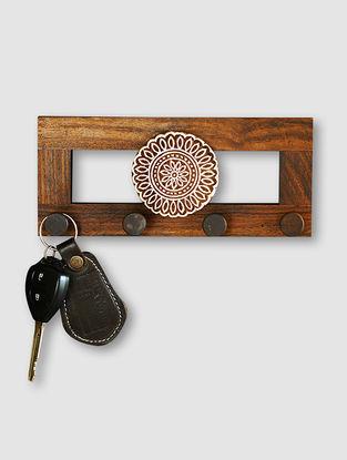 Brown Sheesham Wood Wall Key Holder (3.5in x 8in)