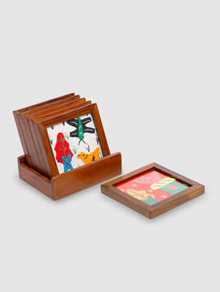 Brown-Multicolored Hand-Embroidered Fabric and Teak Wood Coasters with Case (Set of 7)