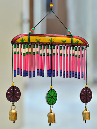 Multicolored Handcrafted Wood and Copper Wind Chime (20in x 11in)