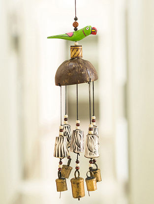 Multicolored Handcrafted Wood and Copper Wind Chime (18in x 4.2in)