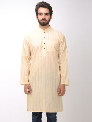 Beige-White Full Sleeve Cotton Kurta with Front Pocket