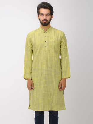 Green-Yellow Full Sleeve Cotton Kurta with Front Pocket