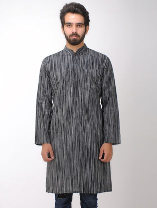 Black-White Full Sleeve Cotton Kurta with Front Pocket