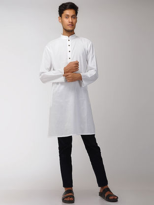 White Cotton Long Kurta with Mandarin Collar