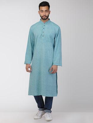 Turquoise Cotton Long Kurta with Mandarin Collar