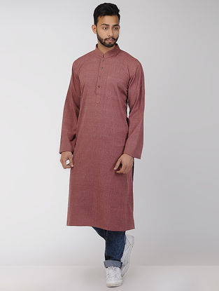 Maroon Cotton Long Kurta with Mandarin Collar