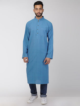 Blue Cotton Long Kurta with Mandarin Collar