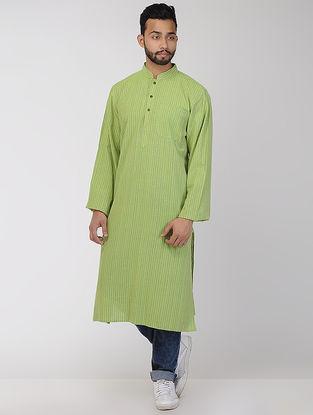 Green Cotton Long Kurta with Mandarin Collar