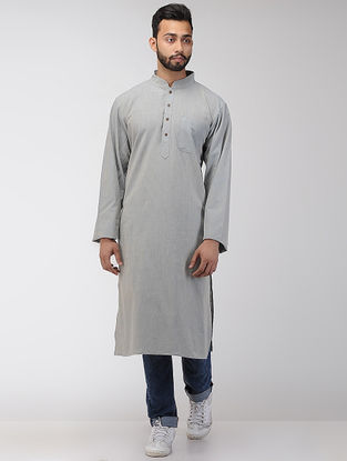 Grey Cotton Long Kurta with Mandarin Collar