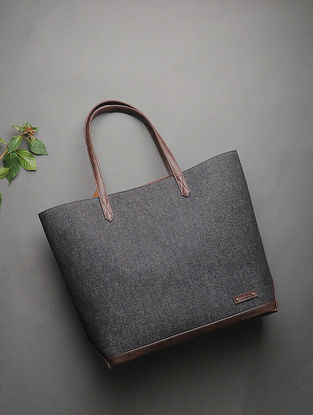 Black-Brown Handcrafted Canvas Tote
