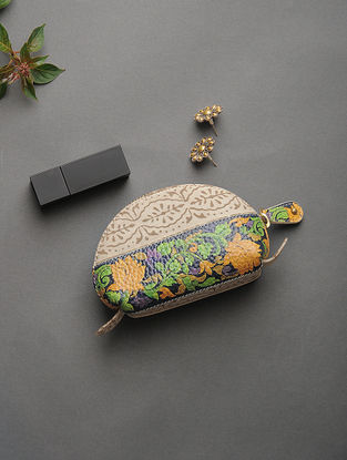 Beige-Yellow Handcrafted Printed Cotton Pouch