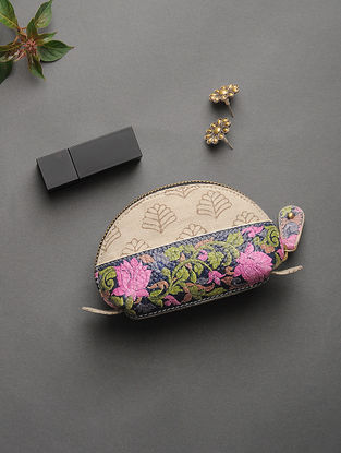 Beige-Pink Handcrafted Printed Cotton Pouch