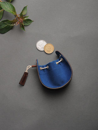 Brown-Blue Handcrafted Cotton and Leather Coin Purse
