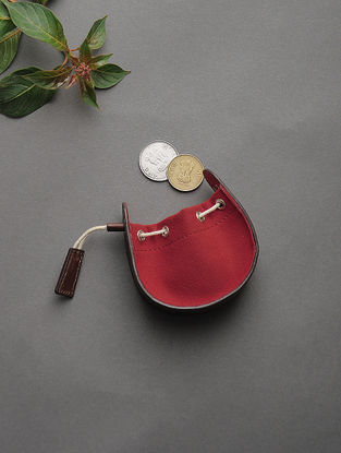Brown-Red Handcrafted Cotton and Leather Coin Purse
