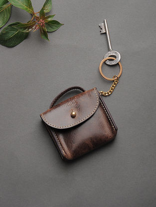 Brown Handcrafted Leather Key Holder