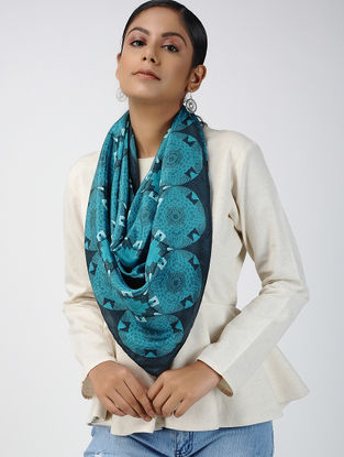 Blue Digital-printed Habutai Silk Scarf