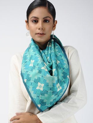 Blue-Ivory Digital-printed Habutai Silk Scarf