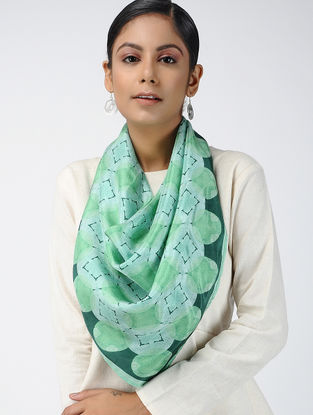 Green Digital-printed Habutai Silk Scarf