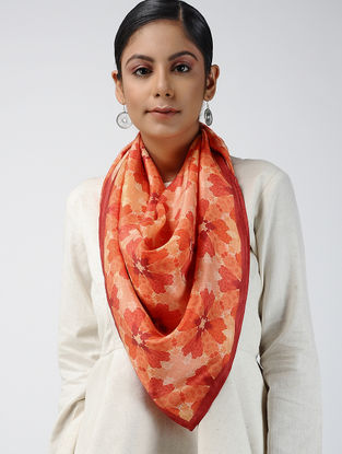 Red-Peach Digital-printed Habutai Silk Scarf