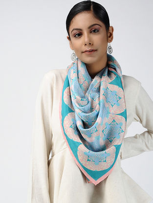 Blue-Pink Digital-printed Habutai Silk Scarf