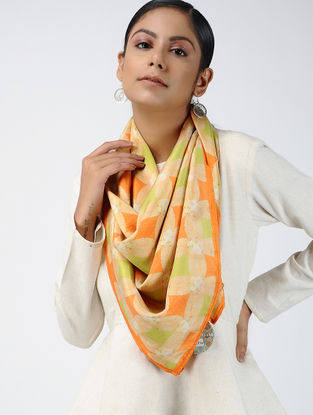 Orange-Ivory Digital-printed Habutai Silk Scarf