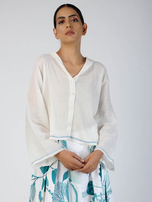 White Embroidered Cotton Crepe Top