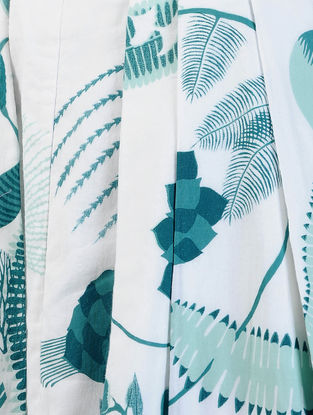 White-Blue Printed Cotton Twill Skirt