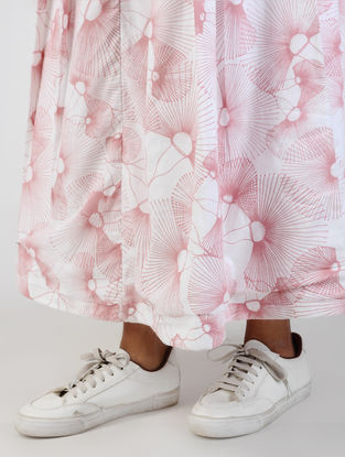 White-Pink Printed Cotton Twill Skirt -L