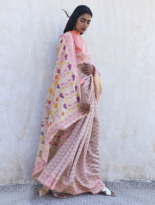 Ivory-Pink Digital Printed Wool-Silk Saree