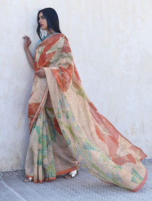 Beige-Orange Digital Printed Chanderi Saree