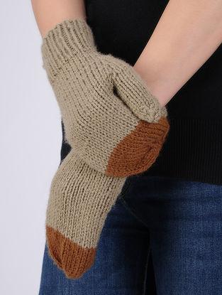 Brown-Beige Hand Knitted Woolen Mittens