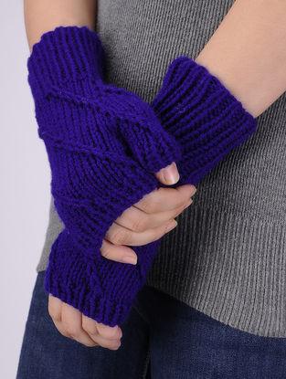 Blue Hand Knitted Woolen Half Gloves