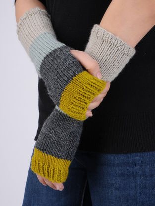 Multi-Colored Hand Knitted Woolen Arm Warmers