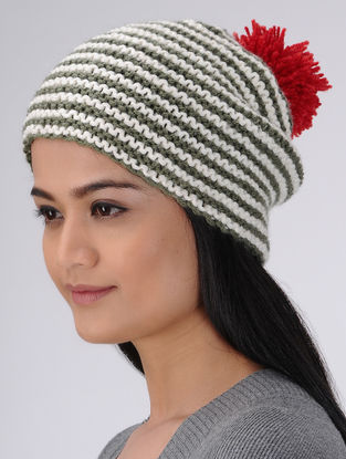 Multi-Colored Hand Knitted Woolen Pom Pom Cap