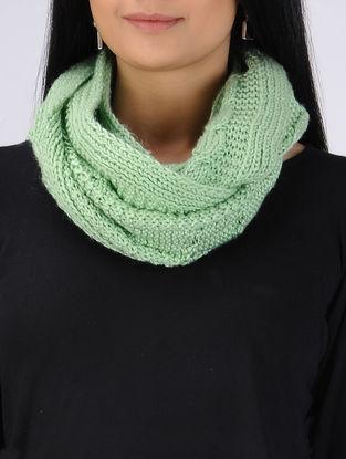 Green Hand Knitted Woolen Snood Muffler