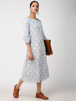 Blue Block-printed Cotton Dress with Embroidery