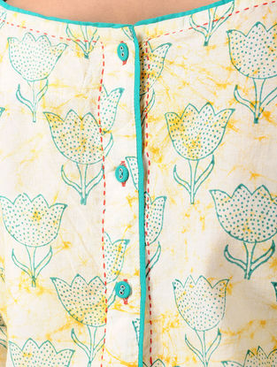 Yellow Block-printed Cotton Dress with Embroidery