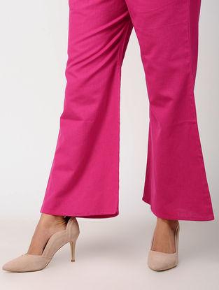 Pink Elasticated Waist Cotton Flax Palazzos