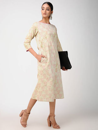 Green Block-printed Cotton Dress with Embroidery