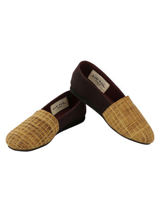 Brown-Beige Handcrafted Ajrakh-Printed Cotton Loafers