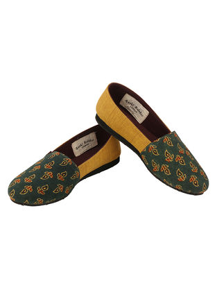 Green-Mustard Handcrafted Ajrakh-Printed Cotton Loafers