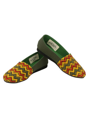 Green-Multicolored Handcrafted Ajrakh-Printed Cotton Loafers