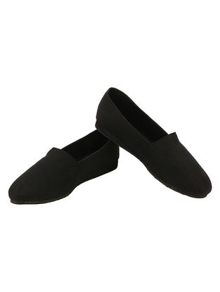 Black Handcrafted Cotton Loafers
