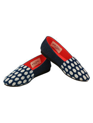 Blue-Ivory Handcrafted Ajrakh-Printed Cotton Loafers