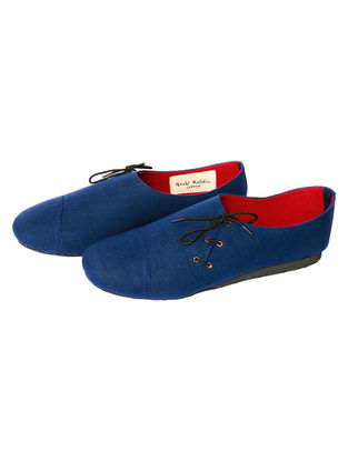 Blue Handcrafted Cotton Shoes